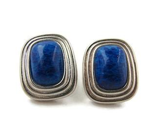 Silver blue earrings. Christian Dior earrings. Blue clip earrings. Christian Dior. Large blue earrings. Costume jewelry. Blue murano.