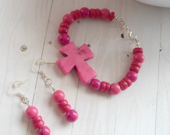 Hot Pink Bracelet and Earring Set With Sideways Cross