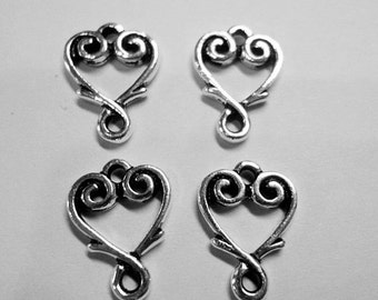 SALE:  4 TierraCast Vine Heart Links,  Antique Silver