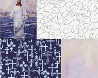 Faith Cotton Fabric by Windham! Jesus walking on Water, Crosses, Words, & Lavender Sky! [Choose Yoour Cut Size]
