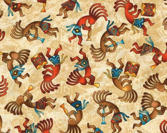KoKopelli C5038 Tan Cotton Fabric by Timeless Treasures! [Choose Your Cut Size]