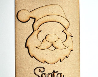 Personalised Christmas Door Hanger Santa Please Stop Here 3D laser cut