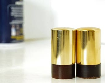Retro Modern Brass / Wood Salt and Pepper Shakers