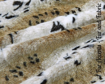 Faux Fur Light Ivory Tan Brown Spotted Snow Lynx - Fabric - Shag, Crafts, Sewing, Baby & Pet  Photo Props