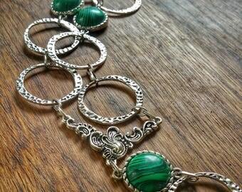 Ras collar to neck in silver metal, genuine malachite, stone protection