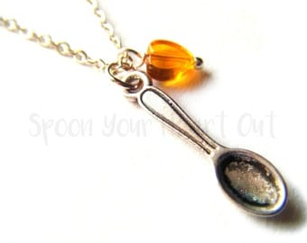 Spare Spoon Necklace | Spoon & Heart Orange MS Multiple Sclerosis (+ more!) Awareness Necklace | Spoonie Necklace | Spoon Theory Jewelry