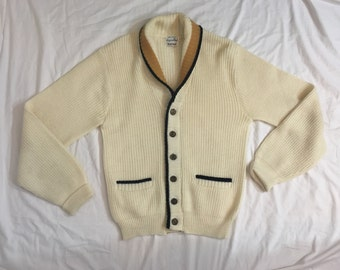 Vintage 1950's/1960's Men's Cardigan with Yellow and Black striped Collar