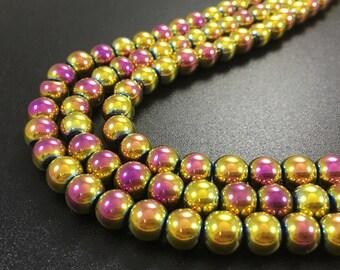 8 mm hematite beads gold hematite  beads craft supplies wholesale beads