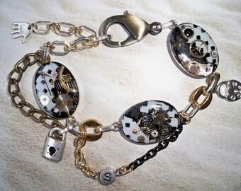 """Mechanical Collage black and white"" steampunk bracelet unique Piece."