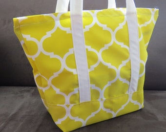 Lemon Yellow Trellis print tote bag, cotton bag, reusable grocery bag, Green Market bag