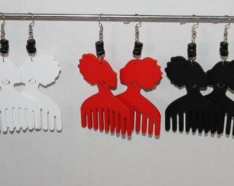 Afro chic pic colorful wooden earrings;Wooden earrings;Novelty earrings;Afro earrings;Pierced dangle earrings;Trendy earrings