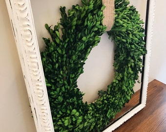 Cottage Style Wreath, Farmhouse Decor, Indoor Wreath, Rustic Mantel Decor, Shabby Chic Wreath, Rustic Cottage Style, Wreath in Frame