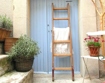 Wooden ladder, towel ladder French vintage, painters ladder, blanket ladder, French country decor, rustic home decor, industrial home decor.