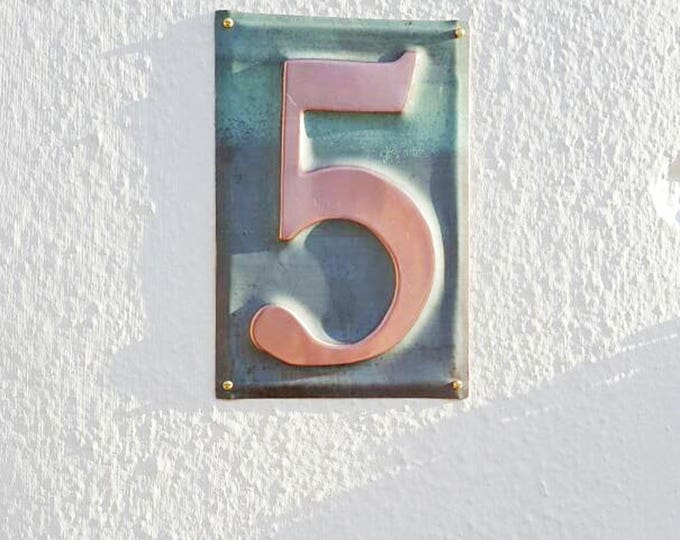 "Large Metal house  number  6""/150mm high  in polished and   patinated copper sheet, 1 x number g"