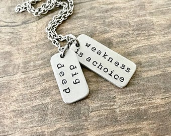 Fitness Jewelry, Dig Deep, Strength Necklace, Workout Jewelry, Weightlifting Jewelry, Fitness Gift, Mantra Necklace, Gym Jewelry