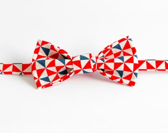 Handmade Bow Tie - Red Triangles