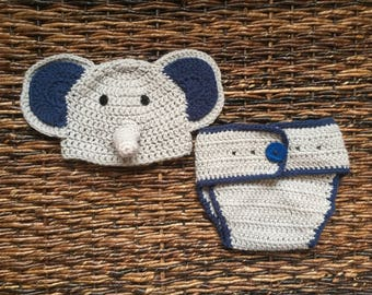 Elephant Hat and Diaper Cover