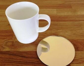 Round Gold Mirror Finish Acrylic Coasters