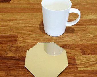 Octagon Shaped Gold MIrror Finish Acrylic Coasters
