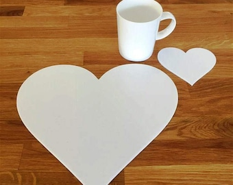 Heart Shaped Placemats or Placemats & Coasters - in White Gloss Finish Acrylic 3mm