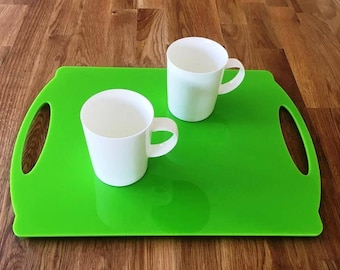 """Rectangle Flat Serving Tray - Lime Green Gloss Finish Acrylic, 3mm Thick 30cm x 40cm 12""""x16"""""""
