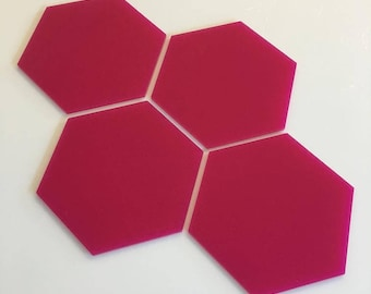 "Pink Gloss Acrylic Hexagon Crafting Mosaic & Wall Tiles, Sizes: 1cm to 20cm - 1"" to 7.9"""