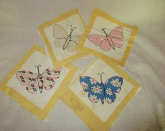 Vintage Butterfly Quilt Squares