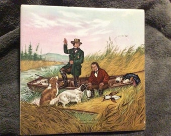Vintage Ceremic Tile Fishing Boat Scene