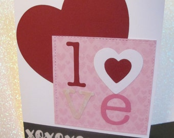 Handmade Die-cut Valentines Day Greeting Card or Gift Card