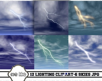 Digital Lighting Clip Art -Digital Skies Jpeg-INSTANT DOWNLOAD- 12 Individual Png/6 Jpeg - for Personal or Commercial Use  - 300 DPI