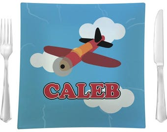 Airplane Square Dinner Plate (Personalized)