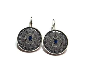 MANDALA DANGLE EARRINGS - Blue earrings - colorful ornament earrings - mandala jewelry - indian jewellery - gift for her