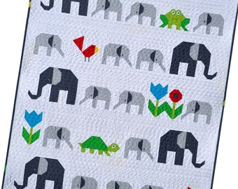 Elephant Parade Quilt Pattern, PDF,  instant download, modern patchwork, animal, turtle, frog, bird, flower, grey, white, green, red, blue