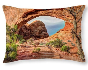 Throw Pillow, North Window Arch, Arches National Park, Utah Photography, Southwest Arch, Landscape, Home Decor, Fine Art Photo Print