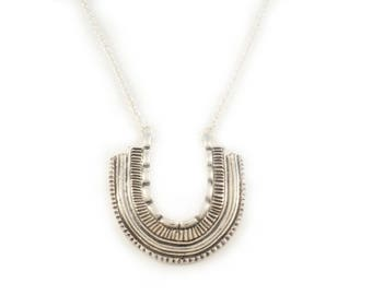 Bandit necklace - Sterling silver U-shaped pendant with rolo chain - handmade jewellery