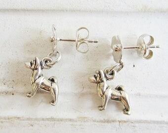 Akita Poppy Earrings - Sterling Silver Mini - Post Earrings