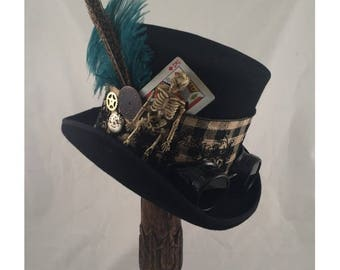 STEAMPUNK TOP HATS, Steampunk Shop, Steampunk Accessories, Mad Hatter Hat, Black, Turquoise, Clock Parts