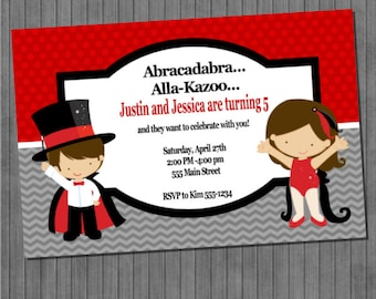 Magic Show Birthday Invitations- Boy and Girl