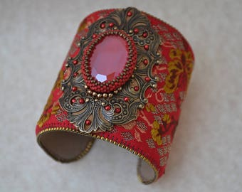 Vintage Ribbon Cuff, Beaded Cuff, Handmade, Bracelet, Cuff