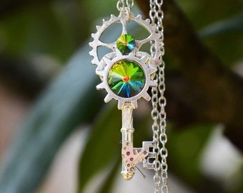 Rainbow Steampunk key necklace