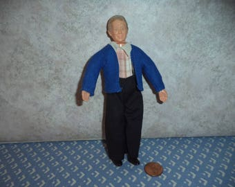 1:12 scale Dollhouse Miniature Older Townsquare Grandfather Doll
