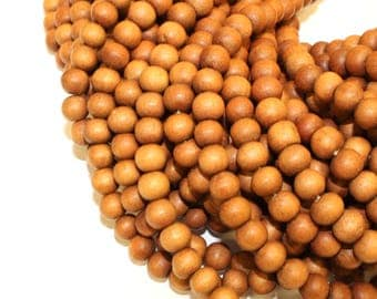 8mm High Quality Sandalwood Matte Unpolished Natural Wood Beads, Matte Handmade Beads 16 inch Strand, 50 Beads