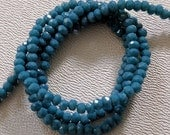 PETROL OPAL: 1x2mm Faceted Glass Rondelle Strand (195 beads per strand)