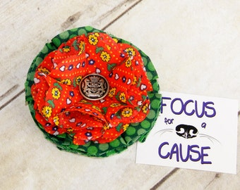 Orange and Green Dog Collar Flower Accessory with Old Button, Fabric Flower Collar Accessory, Harness Flower by Focus for a Cause