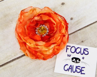Orange Dog Collar Flower Accessory, Burnt Edges Flower Collar Accessory, Harness Flower, Fabric Flower, by Focus for a Cause