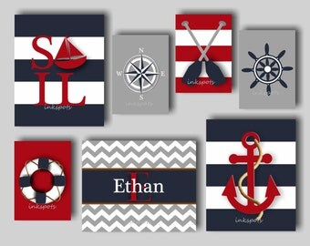 Nautical Nursery Print, Nautical Wall Art, Anchor Wall Art, Sailboat Wall Art, Nautical Wall Decor, Nautical Decor. Choose Colors - NN1581
