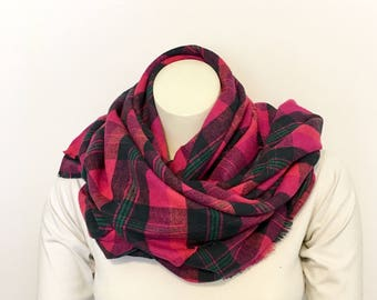Bright Pink and Navy Plaid Blanket Scarf, Soft Cotton Flannel Wrap, Fringed Oversized Scarf, Fuschia Plaid Tartan Wrap