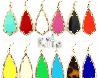 Inspired Kite, Oval, Chandelier, or Gold Frame Cutout Earrings