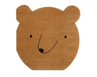 Cute Bear Paper Napkins (Set of 20) - Meri Meri Camping Small Party Napkins Let's Explore Set