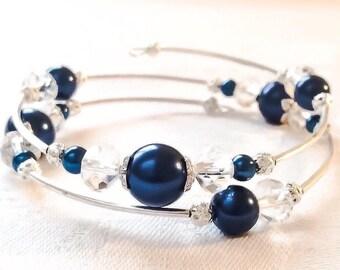 Navy Blue Bracelet Blue Pearl Bracelet Blue Jewelry Navy Pearl Jewelry Bridesmaid Gift